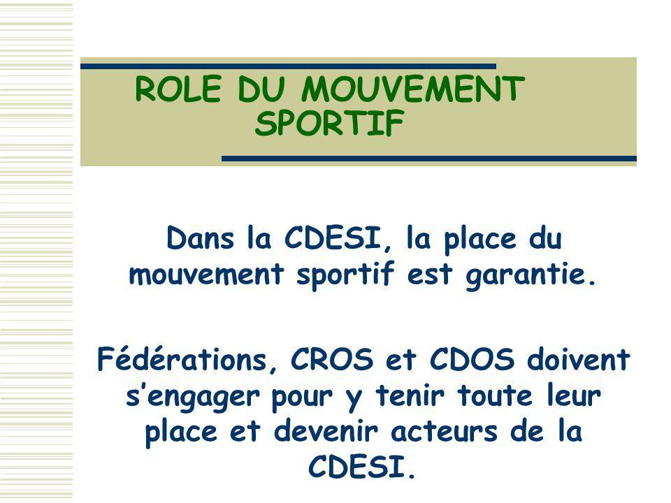 ROLE DU MOUVEMENT SPORTIF Dans la CDESI, la place du mouvement sportif est garantie. Fédérations, CROS et CDOS doivent sengager pour y tenir toute leu