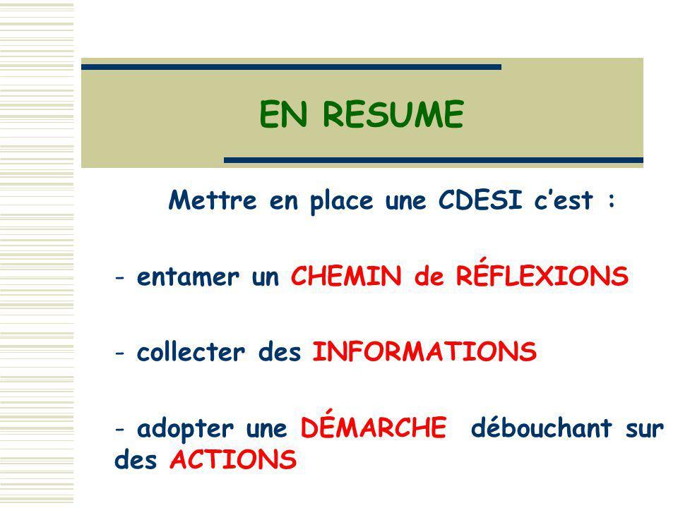 Mettre en place une CDESI cest :  entamer un CHEMIN de RÉFLEXIONS - collecter des INFORMATIONS - adopter une DÉMARCHE débouchant sur des ACTIONS EN RESUME