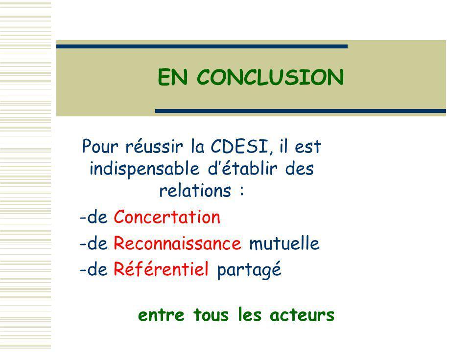 Pour réussir la CDESI, il est indispensable détablir des relations : -de Concertation -de Reconnaissance mutuelle -de Référentiel partagé EN CONCLUSION entre tous les acteurs