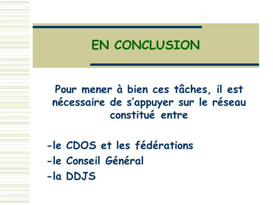 Pour mener à bien ces tâches, il est nécessaire de sappuyer sur le réseau constitué entre -le CDOS et les fédérations -le Conseil Général -la DDJS EN CONCLUSION