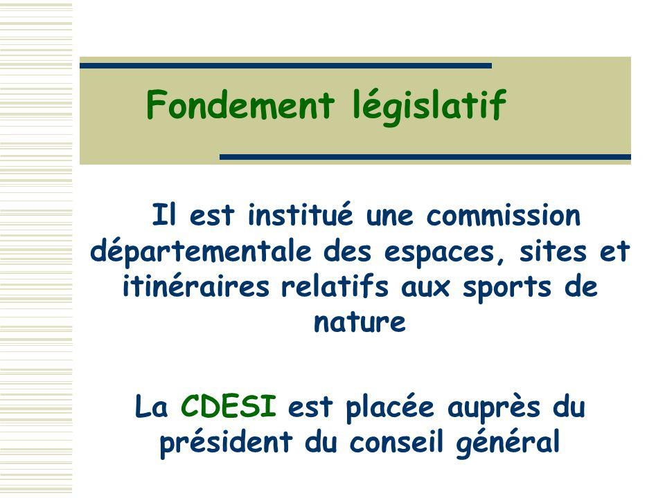 Fondement législatif Il est institué une commission départementale des espaces, sites et itinéraires relatifs aux sports de nature La CDESI est placée auprès du président du conseil général