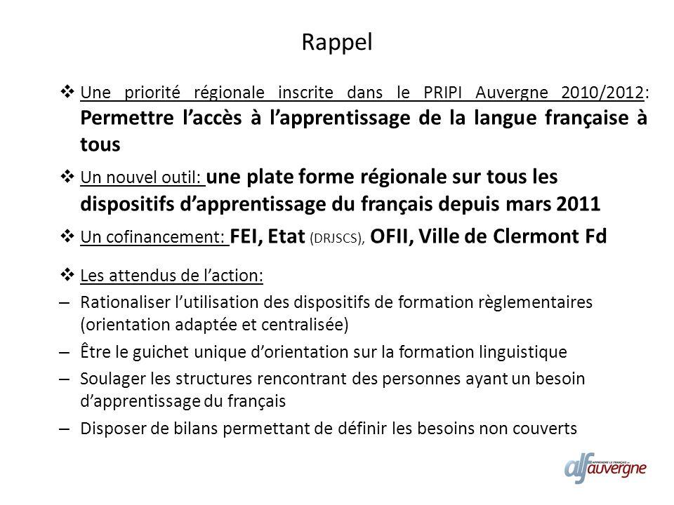 Rappel Une priorité régionale inscrite dans le PRIPI Auvergne 2010/2012: Permettre laccès à lapprentissage de la langue française à tous Un nouvel out