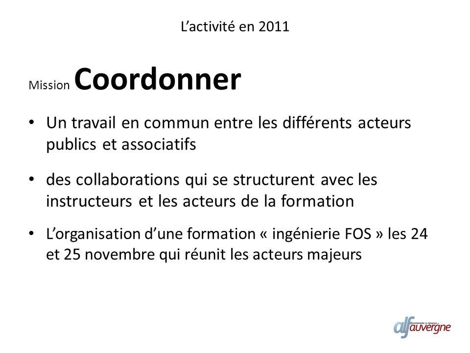 Lactivité en 2011 Mission Coordonner Un travail en commun entre les différents acteurs publics et associatifs des collaborations qui se structurent av