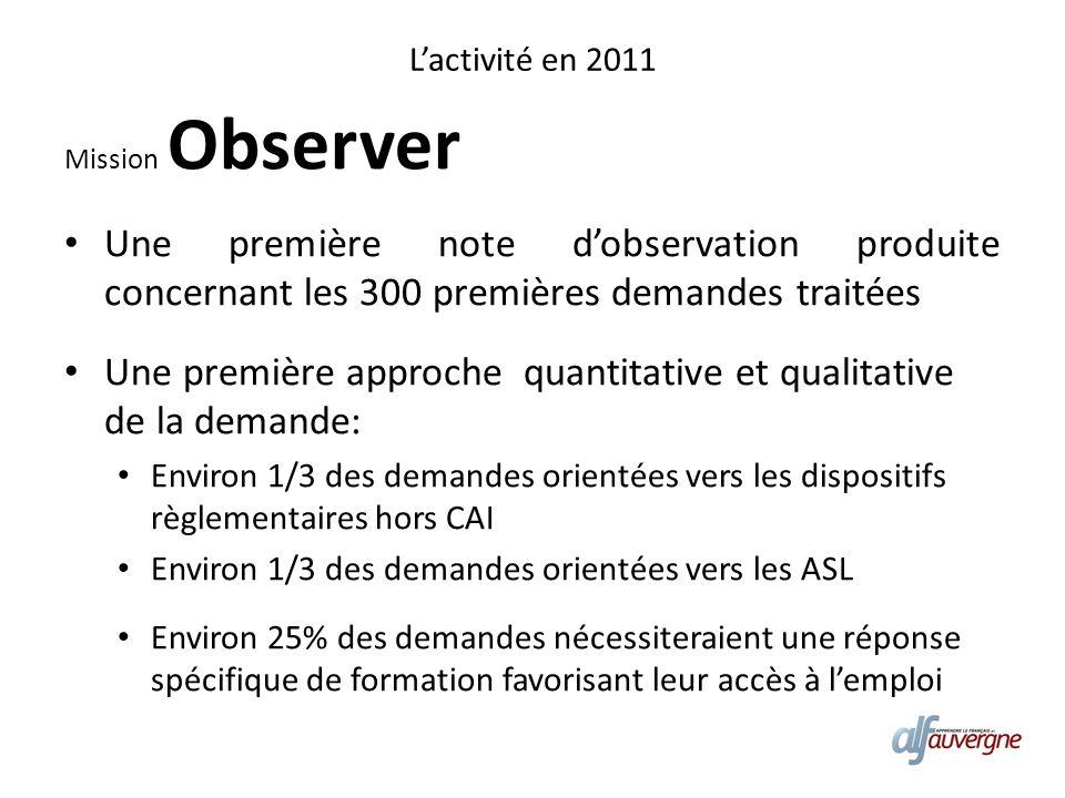 Lactivité en 2011 Mission Observer Une première note dobservation produite concernant les 300 premières demandes traitées Une première approche quanti