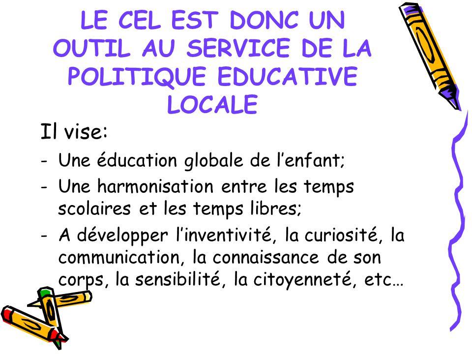 LE CEL EST DONC UN OUTIL AU SERVICE DE LA POLITIQUE EDUCATIVE LOCALE Il vise: -Une éducation globale de lenfant; -Une harmonisation entre les temps sc