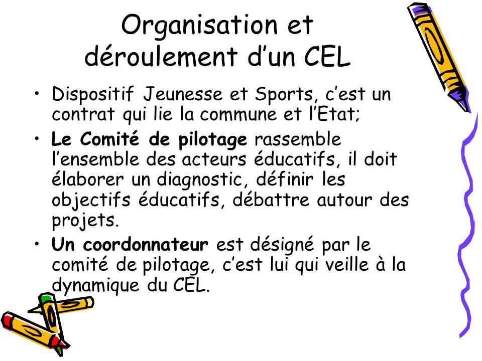 Organisation et déroulement dun CEL Dispositif Jeunesse et Sports, cest un contrat qui lie la commune et lEtat; Le Comité de pilotage rassemble lensem
