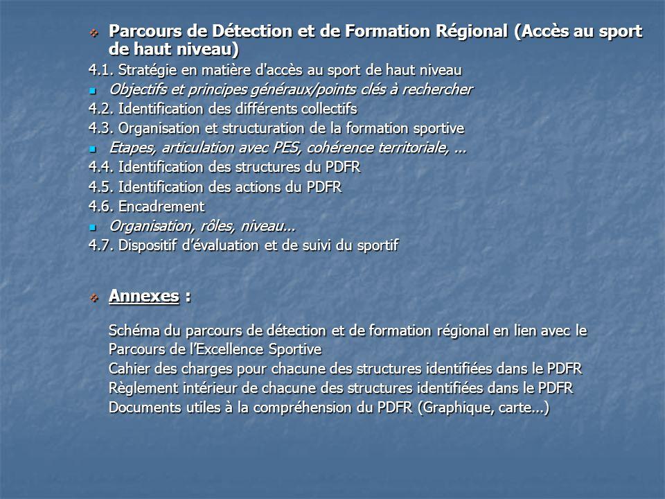 Parcours de Détection et de Formation Régional (Accès au sport de haut niveau) Parcours de Détection et de Formation Régional (Accès au sport de haut