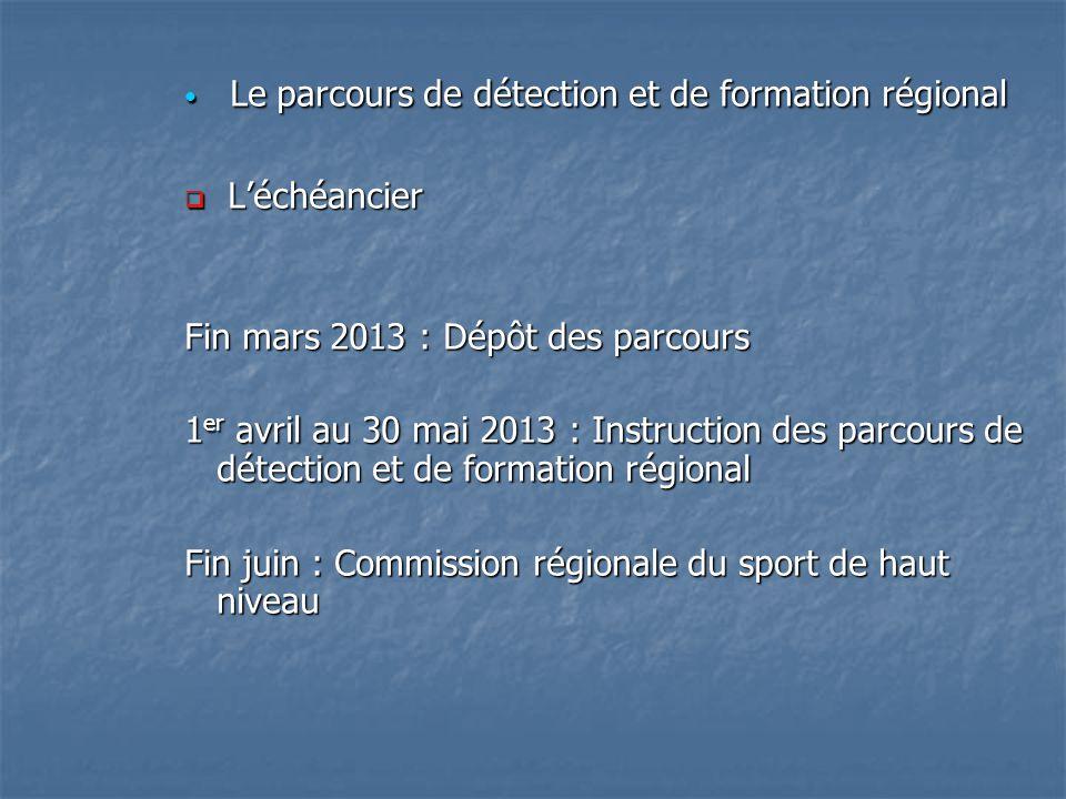 Le parcours de détection et de formation régional Le parcours de détection et de formation régional Léchéancier Léchéancier Fin mars 2013 : Dépôt des