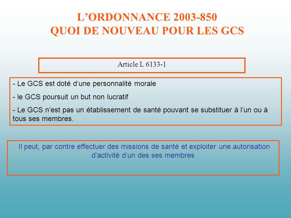 LORDONNANCE 2003-850 QUOI DE NOUVEAU POUR LES GCS Article L 6133-1 - Le GCS est doté dune personnalité morale - le GCS poursuit un but non lucratif -