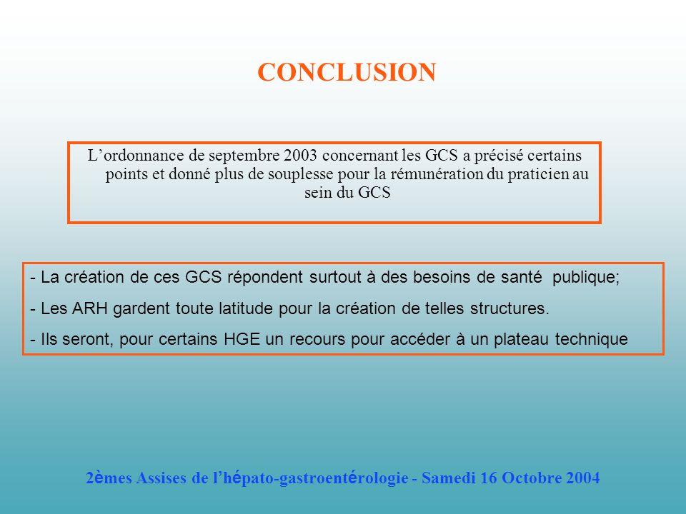 CONCLUSION Lordonnance de septembre 2003 concernant les GCS a précisé certains points et donné plus de souplesse pour la rémunération du praticien au sein du GCS - La création de ces GCS répondent surtout à des besoins de santé publique; - Les ARH gardent toute latitude pour la création de telles structures.