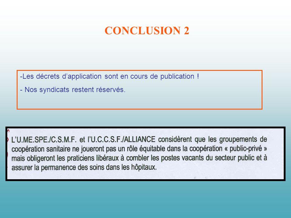 CONCLUSION 2 -Les décrets dapplication sont en cours de publication .