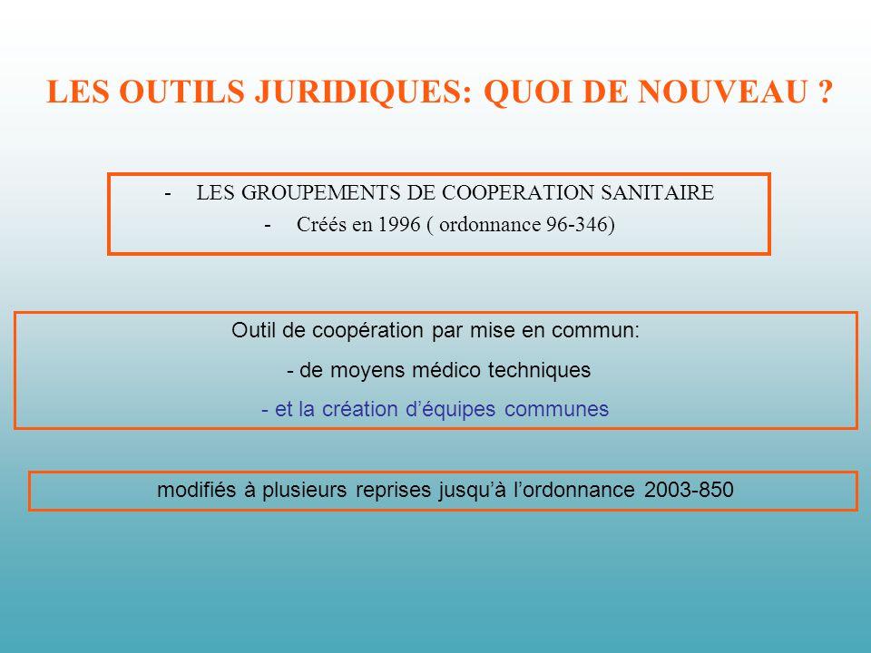 LES OUTILS JURIDIQUES: QUOI DE NOUVEAU ? -LES GROUPEMENTS DE COOPERATION SANITAIRE -Créés en 1996 ( ordonnance 96-346) Outil de coopération par mise e
