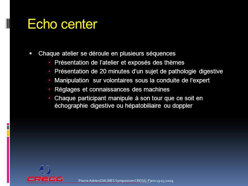 Echo center Chaque atelier se déroule en plusieurs séquences Présentation de latelier et exposés des thèmes Présentation de 20 minutes dun sujet de pa
