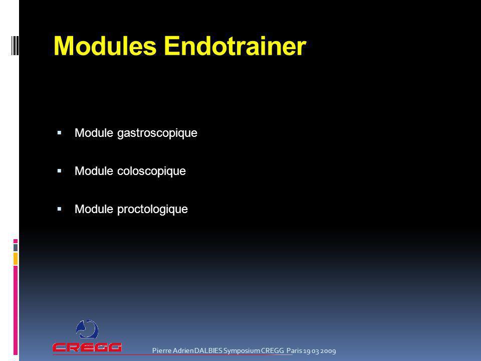 Modules Endotrainer Module gastroscopique Module coloscopique Module proctologique Pierre Adrien DALBIES Symposium CREGG Paris 19 03 2009