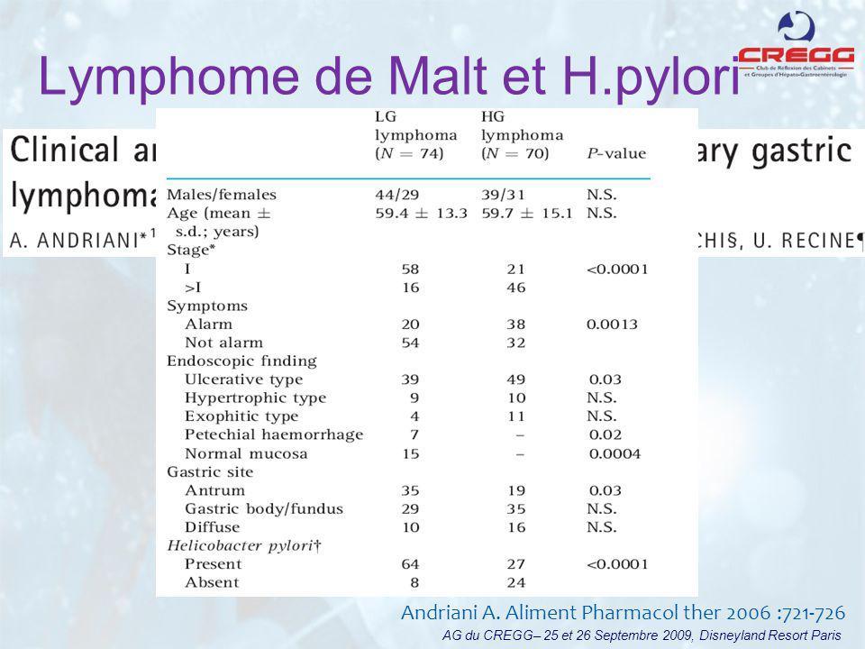 Lymphome de Malt et H.pylori AG du CREGG– 25 et 26 Septembre 2009, Disneyland Resort Paris Andriani A. Aliment Pharmacol ther 2006 :721-726