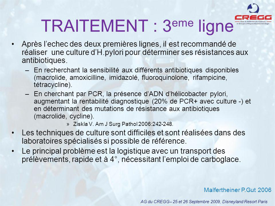 TRAITEMENT : 3 eme ligne levofloxacine® AG du CREGG– 25 et 26 Septembre 2009, Disneyland Resort Paris 300 patients.