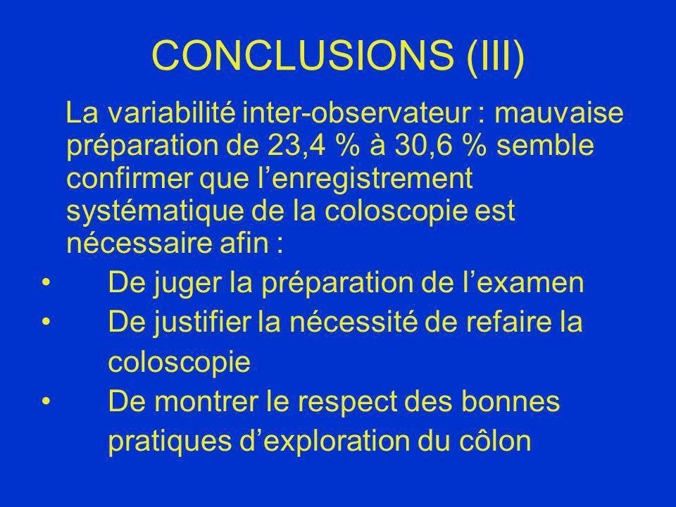 CONCLUSIONS (III) La variabilité inter-observateur : mauvaise préparation de 23,4 % à 30,6 % semble confirmer que lenregistrement systématique de la c