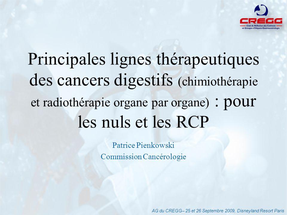 AG du CREGG– 25 et 26 Septembre 2009, Disneyland Resort Paris Principes : –Importance de lextension rectale // fascia rectal (IRM) –Qualité de lexérèse = facteur majeur du pronostic : Chirurgie du méso-rectum –Tumeurs 1/3 supérieur : idem CCR –Traitement néo-adjuvant uniquement pour les lésions sous- péritonéales –AAP : geste dexception (RCP recours) –Plus de RT-CT post-op « de rattrapage » Cancer du Rectum
