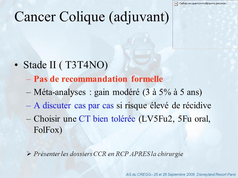 AG du CREGG– 25 et 26 Septembre 2009, Disneyland Resort Paris Stade II ( T3T4NO) –Pas de recommandation formelle –Méta-analyses : gain modéré (3 à 5%