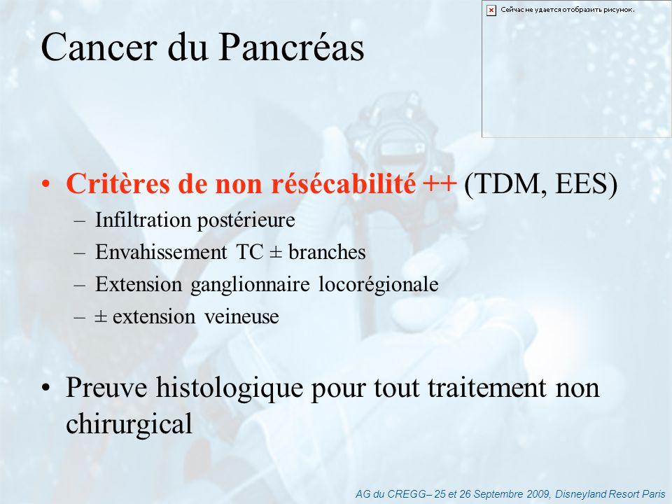 AG du CREGG– 25 et 26 Septembre 2009, Disneyland Resort Paris Critères de non résécabilité ++ (TDM, EES) –Infiltration postérieure –Envahissement TC ±