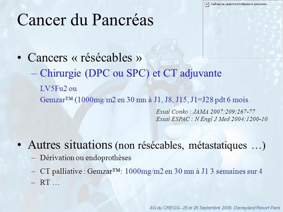 AG du CREGG– 25 et 26 Septembre 2009, Disneyland Resort Paris Cancers « résécables » –Chirurgie (DPC ou SPC) et CT adjuvante LV5Fu2 ou Gemzar (1000mg/