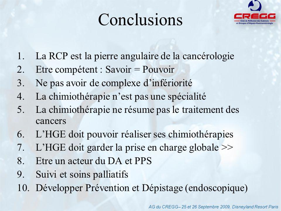AG du CREGG– 25 et 26 Septembre 2009, Disneyland Resort Paris 1.La RCP est la pierre angulaire de la cancérologie 2.Etre compétent : Savoir = Pouvoir