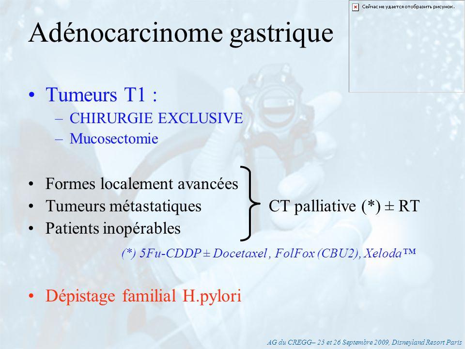 AG du CREGG– 25 et 26 Septembre 2009, Disneyland Resort Paris « Petit CHC sur cirrhose» = Lésion unique < 5 cm ou 2 à 3 nodules <3 cm –Transplantation (centre de référence) ± traitement dattente –Alternatives : résection ou radiofréquence (RCP) « Gros CHC » –Chimioembolisation Sorafenib (Nexavar) Hépatocarcinome (CHC) Sharp : N Engl J Med 2008;359:378-90