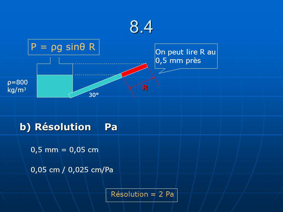 8.4 30° R ρ=800 kg/m 3 On peut lire R au 0,5 mm près P = ρg sinθ R b) Résolution Pa 0,5 mm = 0,05 cm 0,05 cm / 0,025 cm/Pa Résolution = 2 Pa