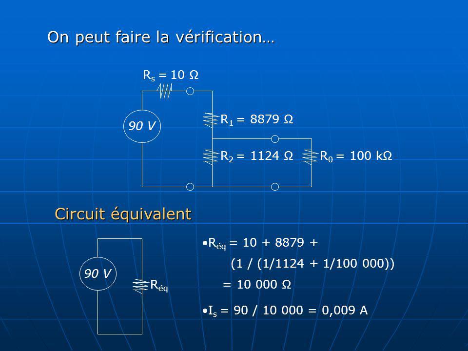 R 2 = 1124 Ω R 1 = 8879 Ω R 0 = 100 kΩ 90 V R s = 10 Ω On peut faire la vérification… 90 V R éq Circuit équivalent R éq = 10 + 8879 + (1 / (1/1124 + 1