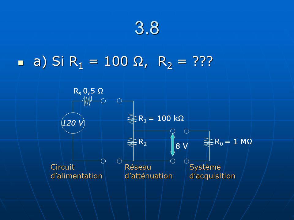 3.8 a) Si R 1 = 100 Ω, R 2 = ??? a) Si R 1 = 100 Ω, R 2 = ??? R2R2 R 1 = 100 kΩ R 0 = 1 MΩ 120 V R s 0,5 Ω Circuit dalimentation Réseau datténuation S