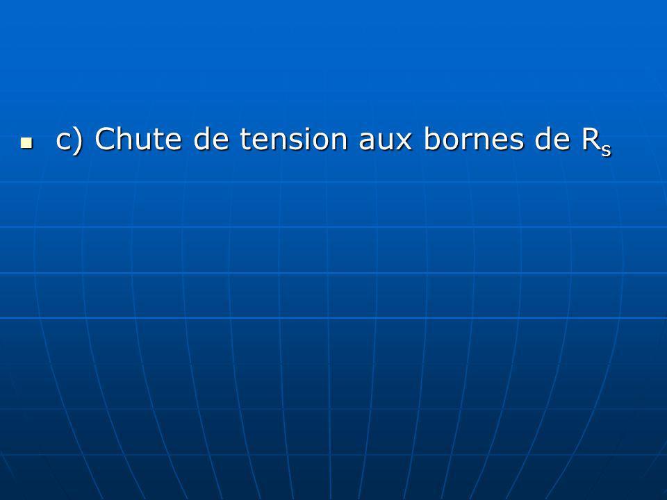 c) Chute de tension aux bornes de R s c) Chute de tension aux bornes de R s