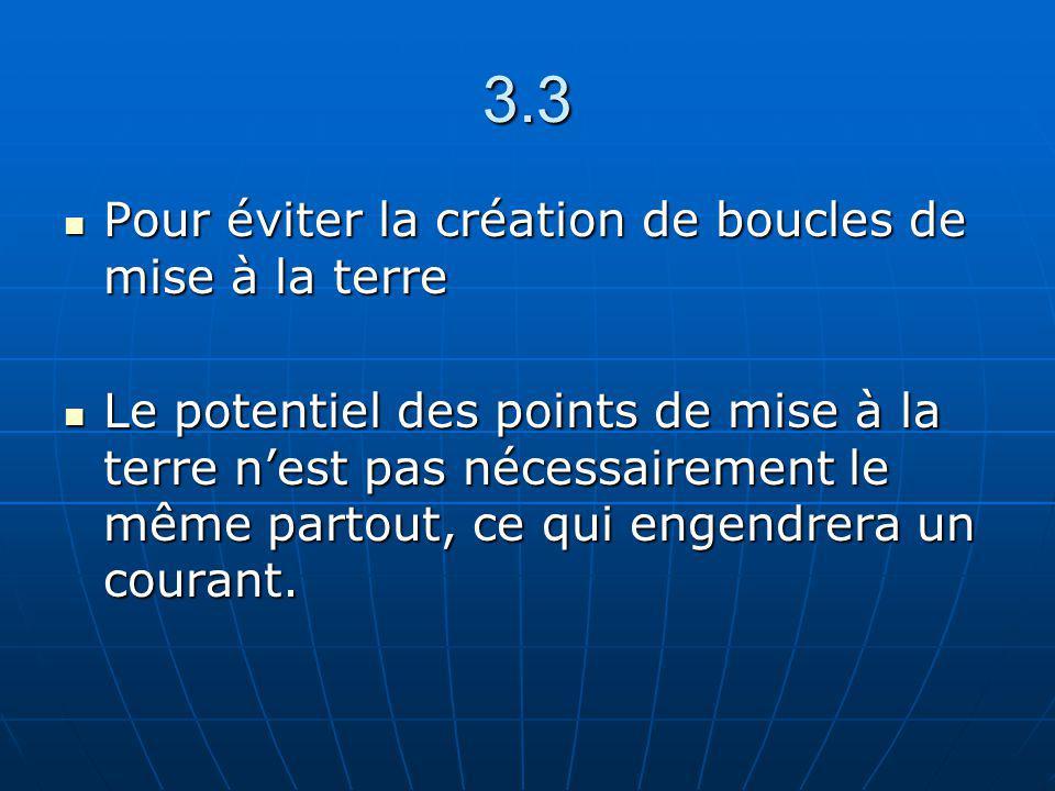 3.3 Pour éviter la création de boucles de mise à la terre Pour éviter la création de boucles de mise à la terre Le potentiel des points de mise à la t