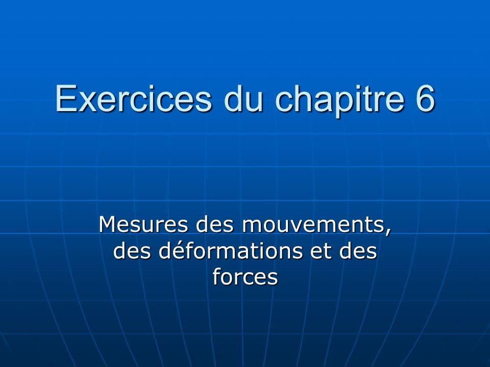 Exercices du chapitre 6 Mesures des mouvements, des déformations et des forces