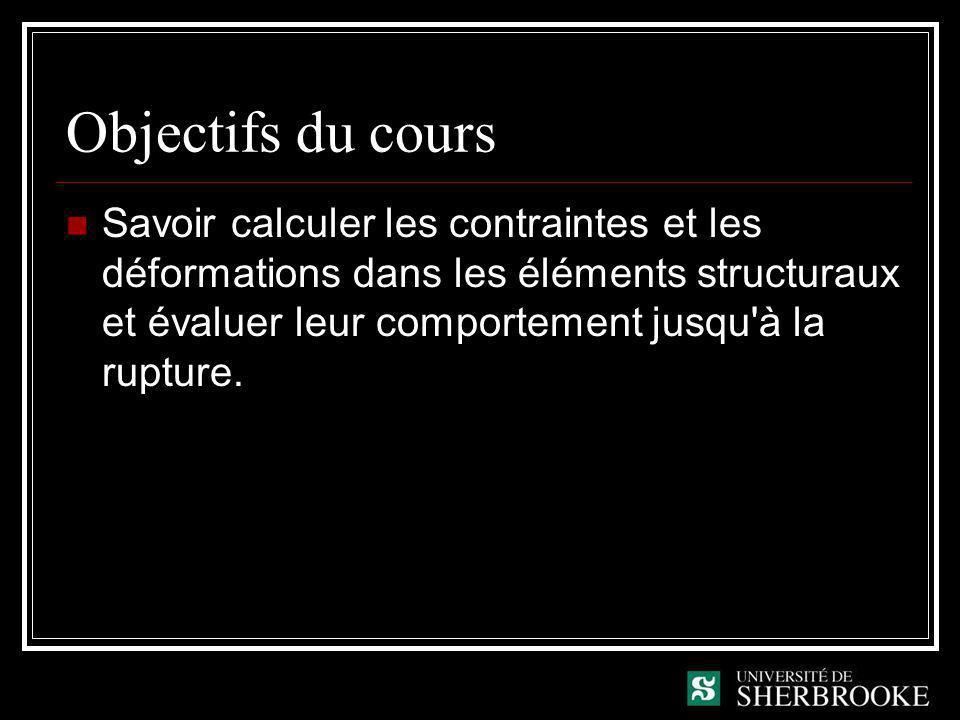 Objectifs du cours Savoir calculer les contraintes et les déformations dans les éléments structuraux et évaluer leur comportement jusqu'à la rupture.