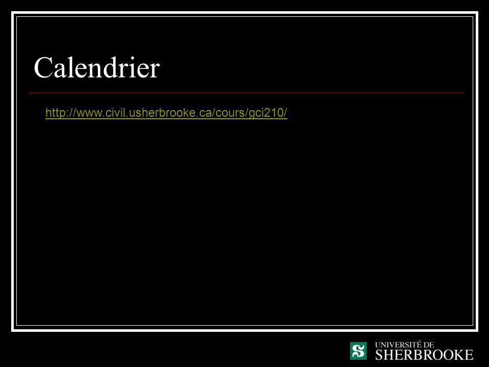 Calendrier http://www.civil.usherbrooke.ca/cours/gci210/