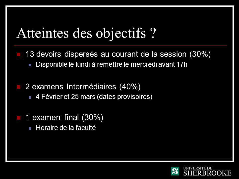 Atteintes des objectifs ? 13 devoirs dispersés au courant de la session (30%) Disponible le lundi à remettre le mercredi avant 17h 2 examens Intermédi