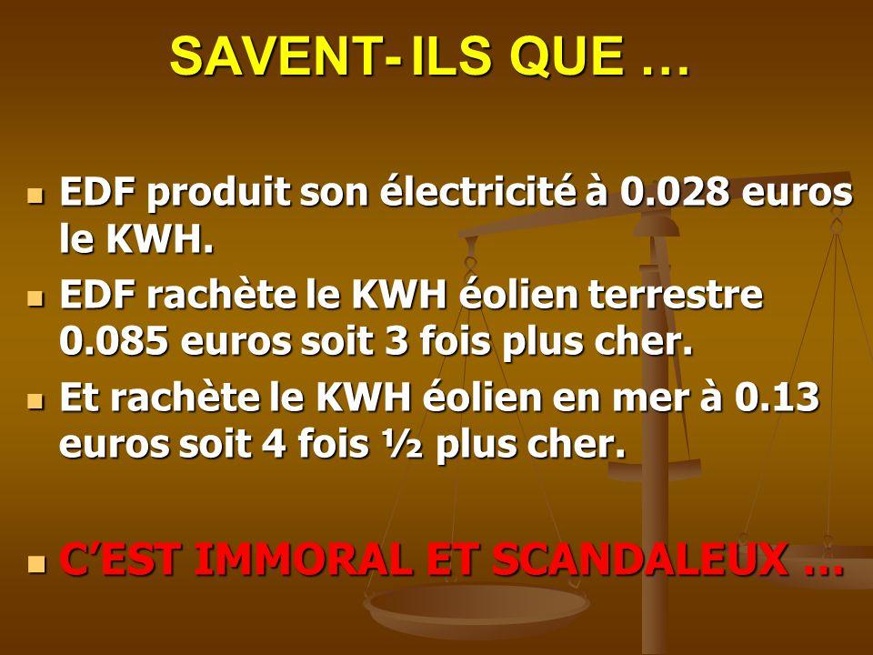 SAVENT- ILS QUE … EDF produit son électricité à 0.028 euros le KWH. EDF produit son électricité à 0.028 euros le KWH. EDF rachète le KWH éolien terres