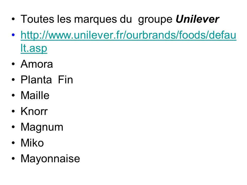 Toutes les marques du groupe Unilever http://www.unilever.fr/ourbrands/foods/defau lt.asphttp://www.unilever.fr/ourbrands/foods/defau lt.asp Amora Planta Fin Maille Knorr Magnum Miko Mayonnaise