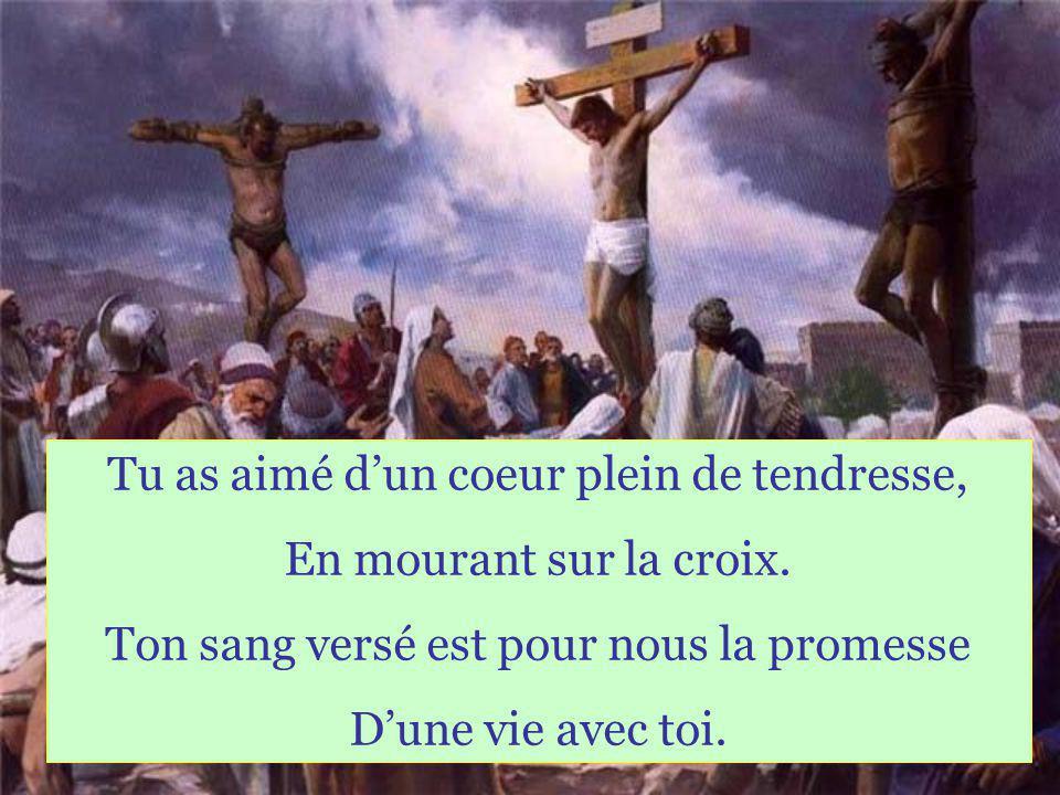 Tu as aimé dun coeur plein de tendresse, En mourant sur la croix.