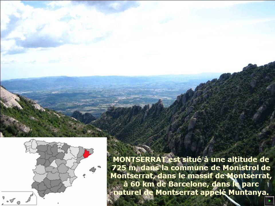 MONTSERRAT est situé à une altitude de 725 m, dans la commune de Monistrol de Montserrat, dans le massif de Montserrat, à 60 km de Barcelone, dans le parc naturel de Montserrat appelé Muntanya.