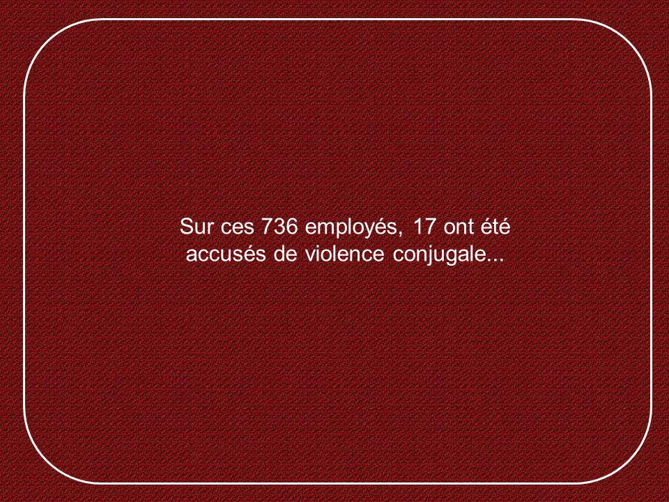 Sur ces 736 employés, 17 ont été accusés de violence conjugale...