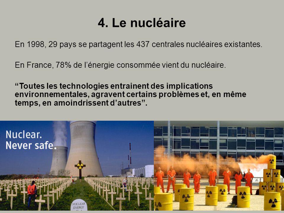 4. Le nucléaire En 1998, 29 pays se partagent les 437 centrales nucléaires existantes.