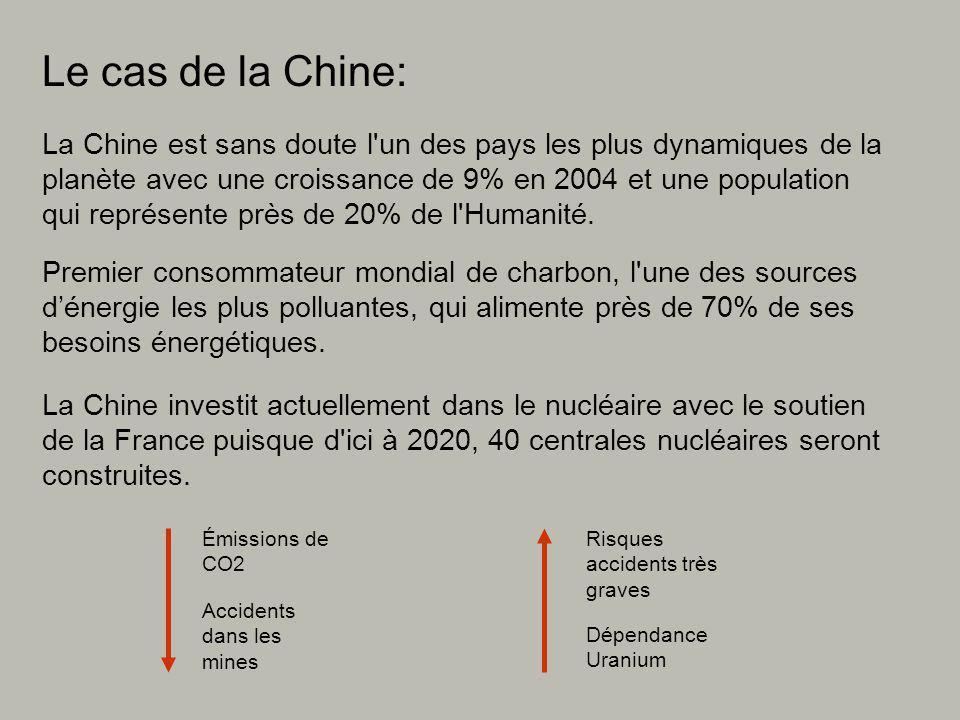 Le cas de la Chine: La Chine est sans doute l un des pays les plus dynamiques de la planète avec une croissance de 9% en 2004 et une population qui représente près de 20% de l Humanité.