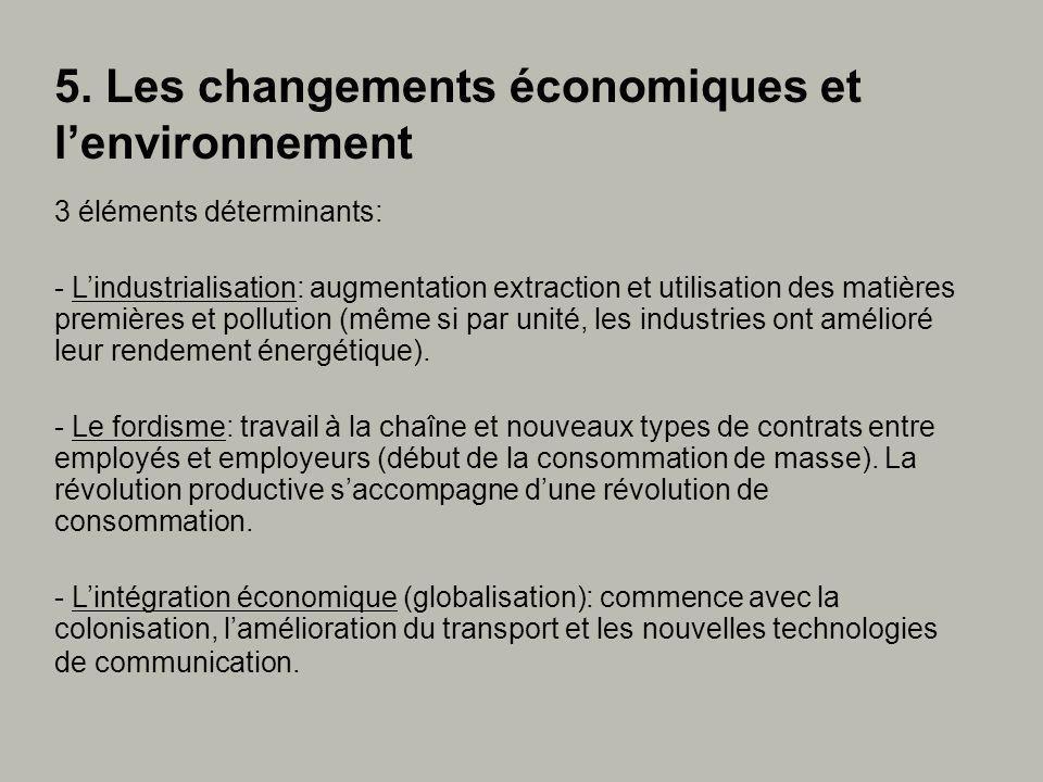 3 éléments déterminants: - Lindustrialisation: augmentation extraction et utilisation des matières premières et pollution (même si par unité, les industries ont amélioré leur rendement énergétique).
