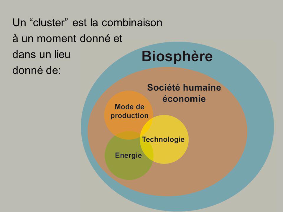 Un cluster est la combinaison à un moment donné et dans un lieu donné de: