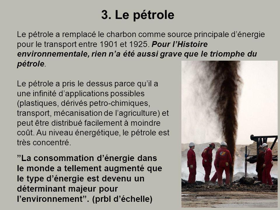 3. Le pétrole La consommation dénergie dans le monde a tellement augmenté que le type dénergie est devenu un déterminant majeur pour lenvironnement. (