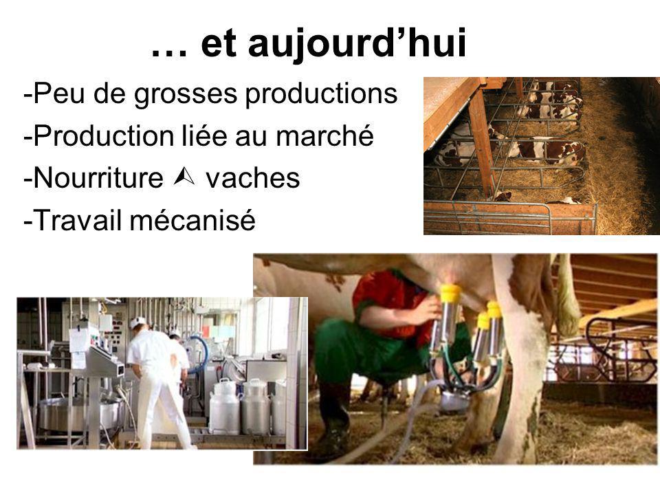 … et aujourdhui -Peu de grosses productions -Production liée au marché -Nourriture vaches -Travail mécanisé