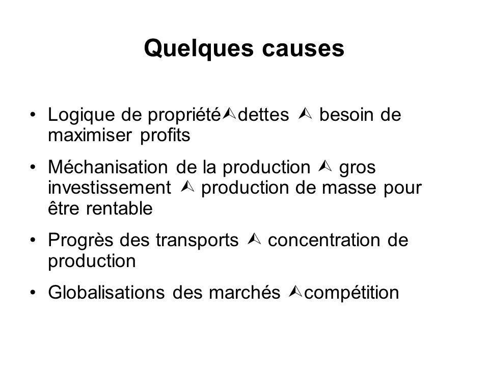 Quelques causes Logique de propriété dettes besoin de maximiser profits Méchanisation de la production gros investissement production de masse pour être rentable Progrès des transports concentration de production Globalisations des marchés compétition