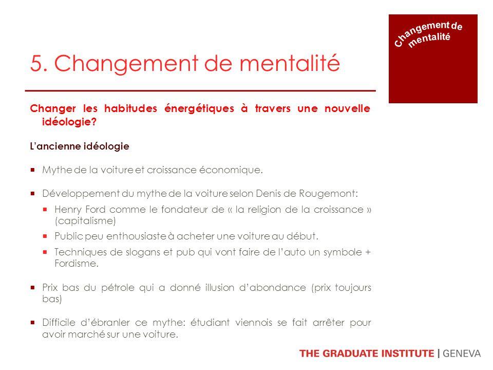 5. Changement de mentalité Changer les habitudes énergétiques à travers une nouvelle idéologie? Lancienne idéologie Mythe de la voiture et croissance