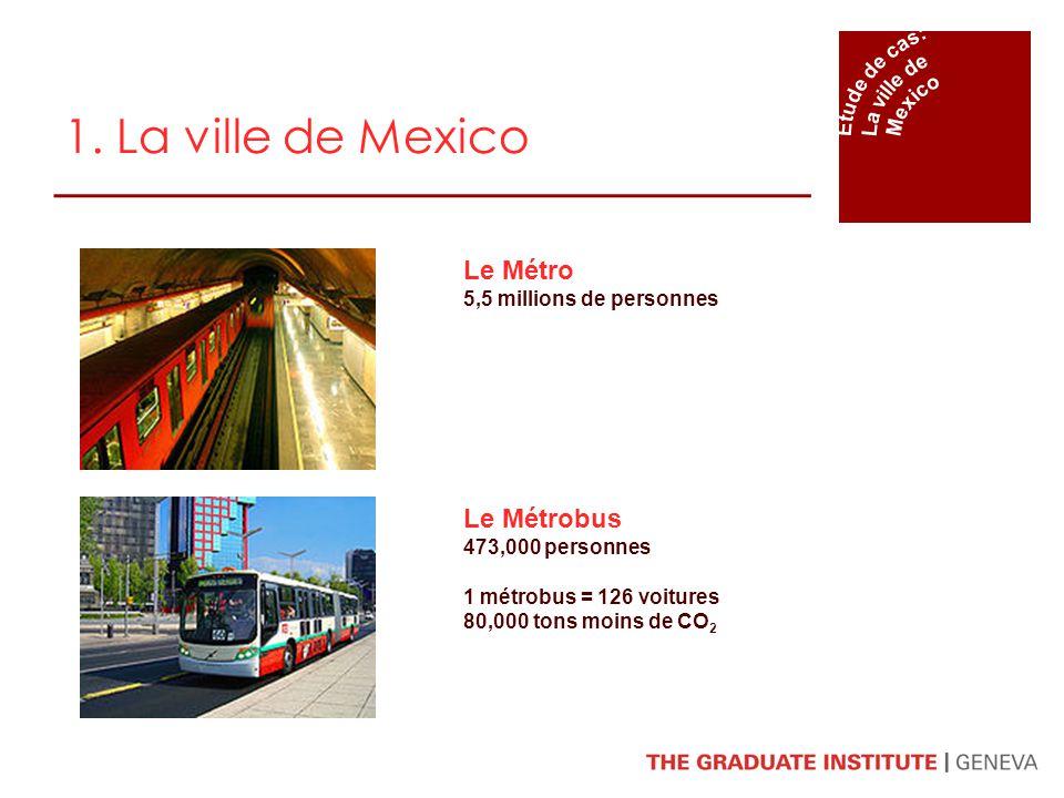 1. La ville de Mexico Le Métro 5,5 millions de personnes Le Métrobus 473,000 personnes 1 métrobus = 126 voitures 80,000 tons moins de CO 2